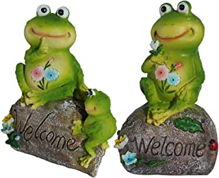 WALTSOM Frog Family Welcome Statue, 8.8 Inch Animal Garden Statues Garden Figurines Frog Sitting on Stone for Outdoor Home Yard Decor (Set of 2)