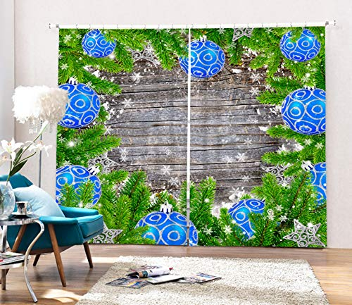 AmDxD 2 Panels Polyester Curtain, Blackout Drapes for Windows Christmas Tree and Bells Board Pattern Curtain, Machine Washable, Green Blue, 84 W x 72 H Inches