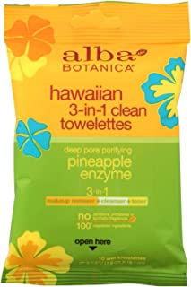 Alba Botanica Pineapple Enzyme Hawaiian 3 in 1 Clean Towelette - 10 per pack - 8 packs per case.