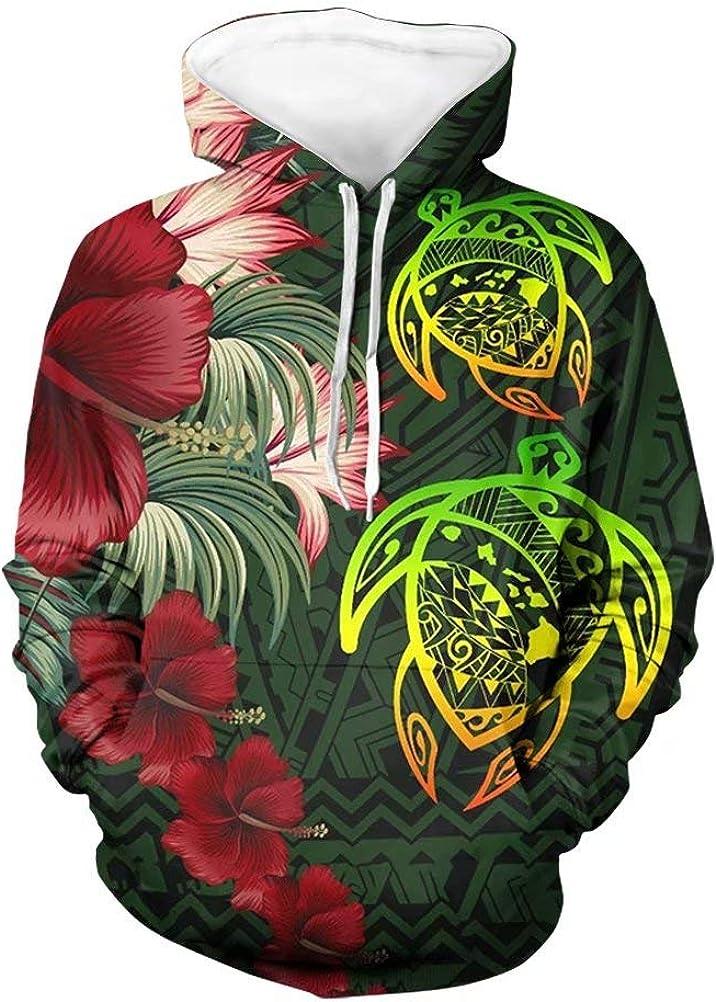 GIFTPUZZ Polynesia Turtles Plumeria Hoodies High order Sweat Sweaters Philadelphia Mall Men's