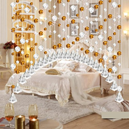 Hot Sale!!1PCs Luxury Crystal Glass Bead Curtain,Living Room Bedroom Window Door Wedding Decor Length - 1M (C:Purple)