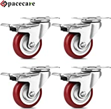 SPACECARE 3 Inches Heavy Duty Casters 4 Pack Swivel Red Polyurethane Wheels 1200 Lbs with..
