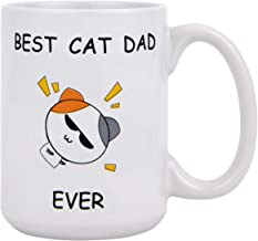 Funny Coffee Mug Best Cat Dad Ever Coffee Tea Cup 15 Ounce Dad Mug Novelty Gift Funny Mug for Christmas Father's Day Dad Father-in-Law Festival Friends Gift