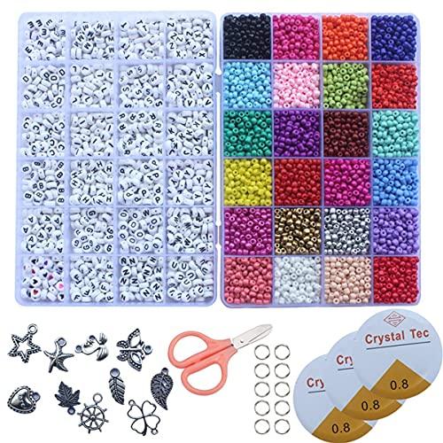 HJCZ 3600 cuentas de cristal de semillas, 1200 cuentas de letras de colores variados, kit para hacer joyas con tijeras pequeñas anillos cordón de abalorios (color: estilo 1)