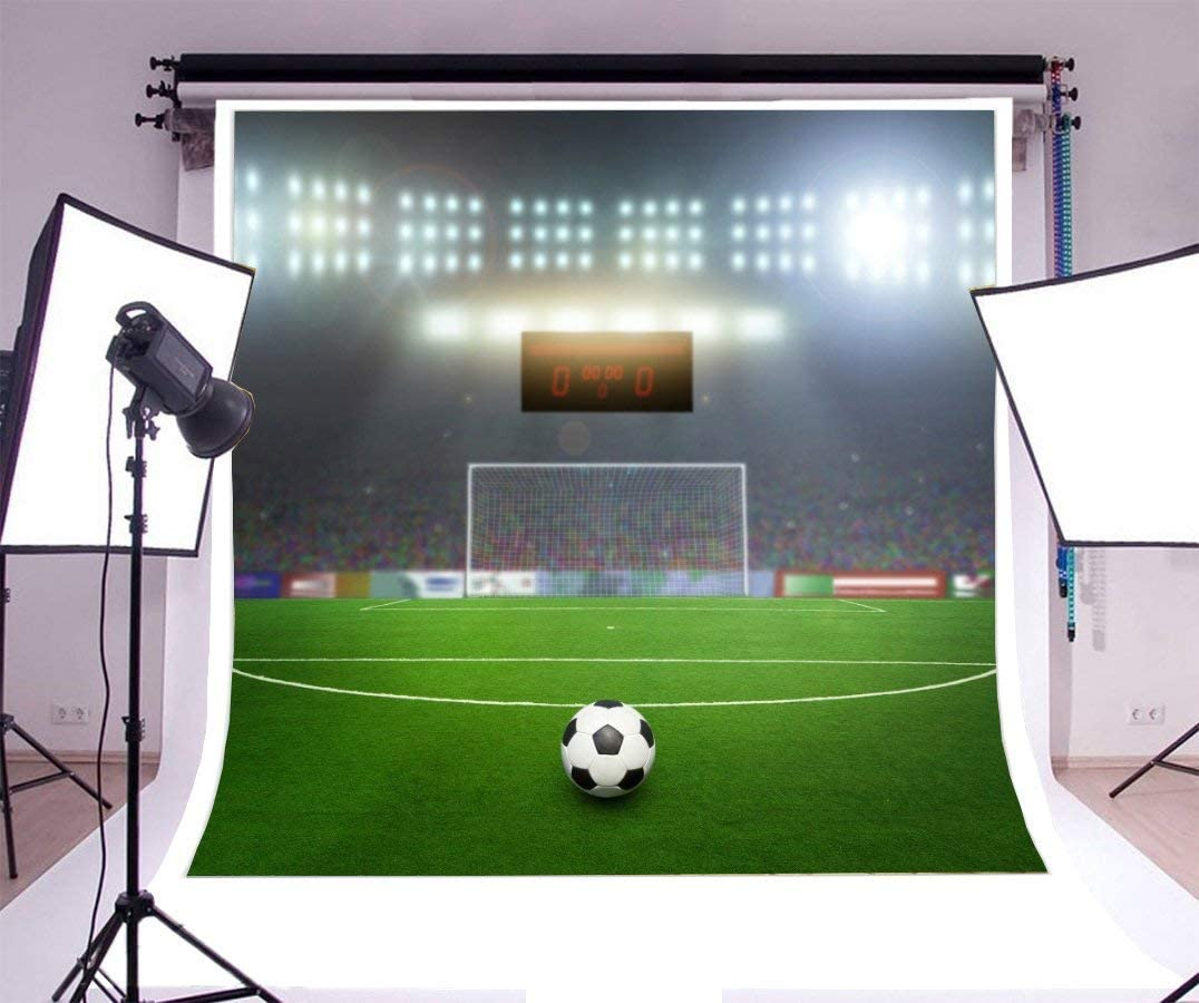 8x6FT Vinyl Photography Background Football Stadium Backdrop Football Grassland Match Field Lighting Night Scene Video TV Live Shoot Background Props