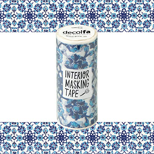 ニトムズ デコルファ (decolfa) インテリア マスキングテープ タイル/ブルー キレイにはがせる 幅10cm×長さ8m M3700