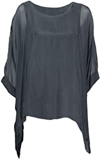 0582ec3bc4496 Cara Mia Seidentunika für Damen Made in Italy Fledermaus-Ärmel Viele Farben 38  40 42