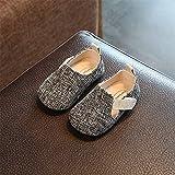 TTXLY Scarpe per Bambini Scarpe per Bambini in Cotone e Lino Scarpe con Fondo Morbido Ragazzi e Ragazze Scarpe per Bambini in Velcro Scarpe Antisdrucciolevole,Gray,15