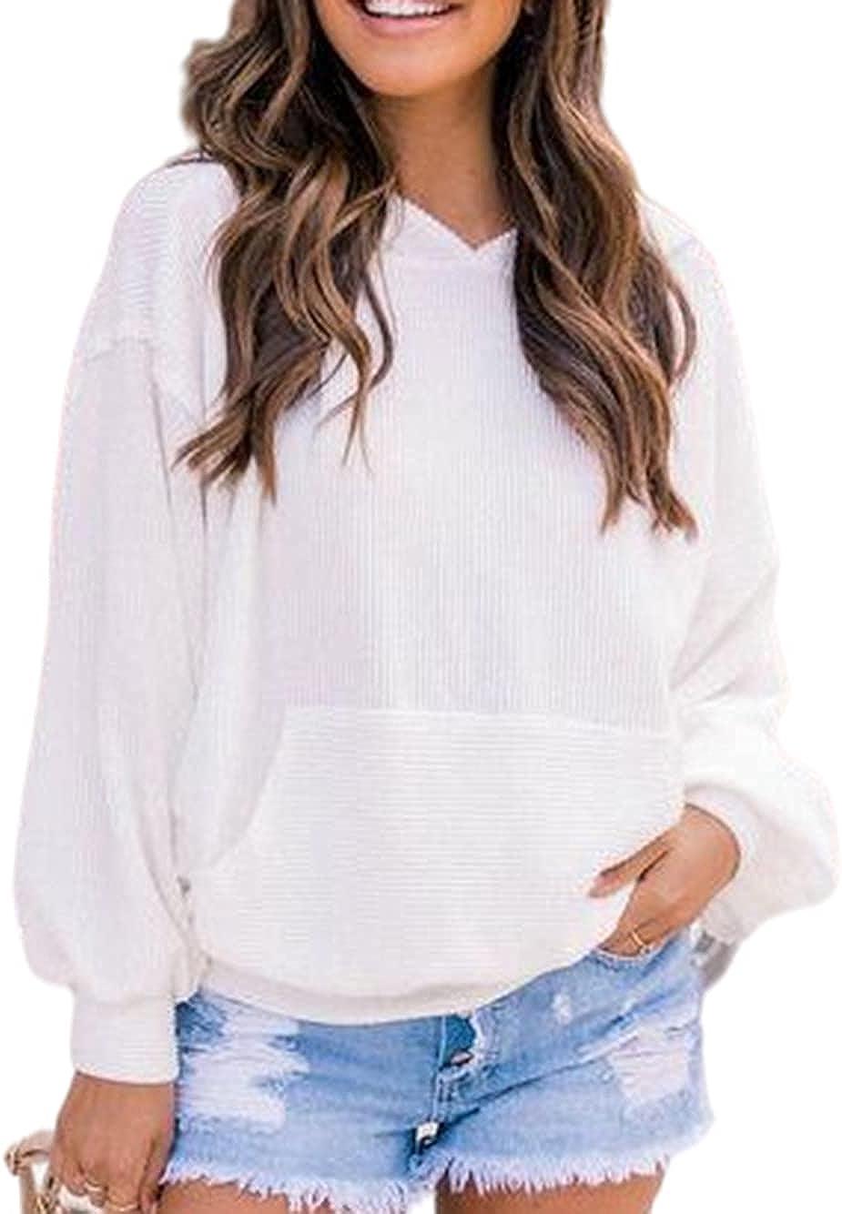 Yousify Women Ribbed Stylish Splendor Hoodie Dolman Sleeves Solid Color Sweatshirt with Pocket