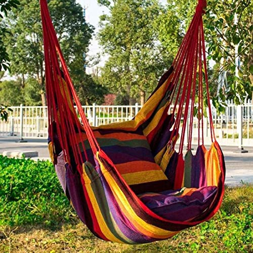 HYM Stuhl Schaukelsitz Hammock Kind/Erwachsener hängendes Seil Hängematte Große Hängesessel Relax Außen Schaukel Garten Hammock (Color : Red Green)