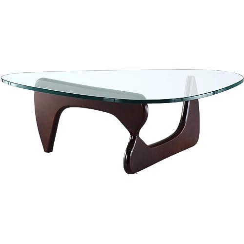 Amazon Com Emod Mid Century Modern Coffee Table Triangle Glass Top Premium Wood Base Dark Walnut Kitchen Dining