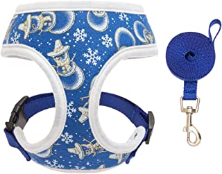 PAWCHIE Small Dog Harness and Leash Set - Christmas Puppy Harness - No Pull Harness Cute Snowman Snowflake Adjustable Vest Harness for Small Dogs