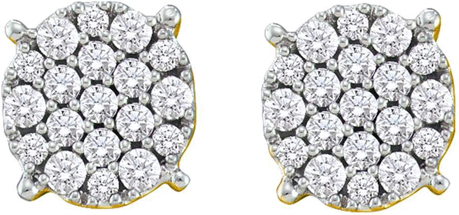 14kt Yellow gold Womens Round Paveset Diamond Flower Cluster Earrings 1 2 Cttw