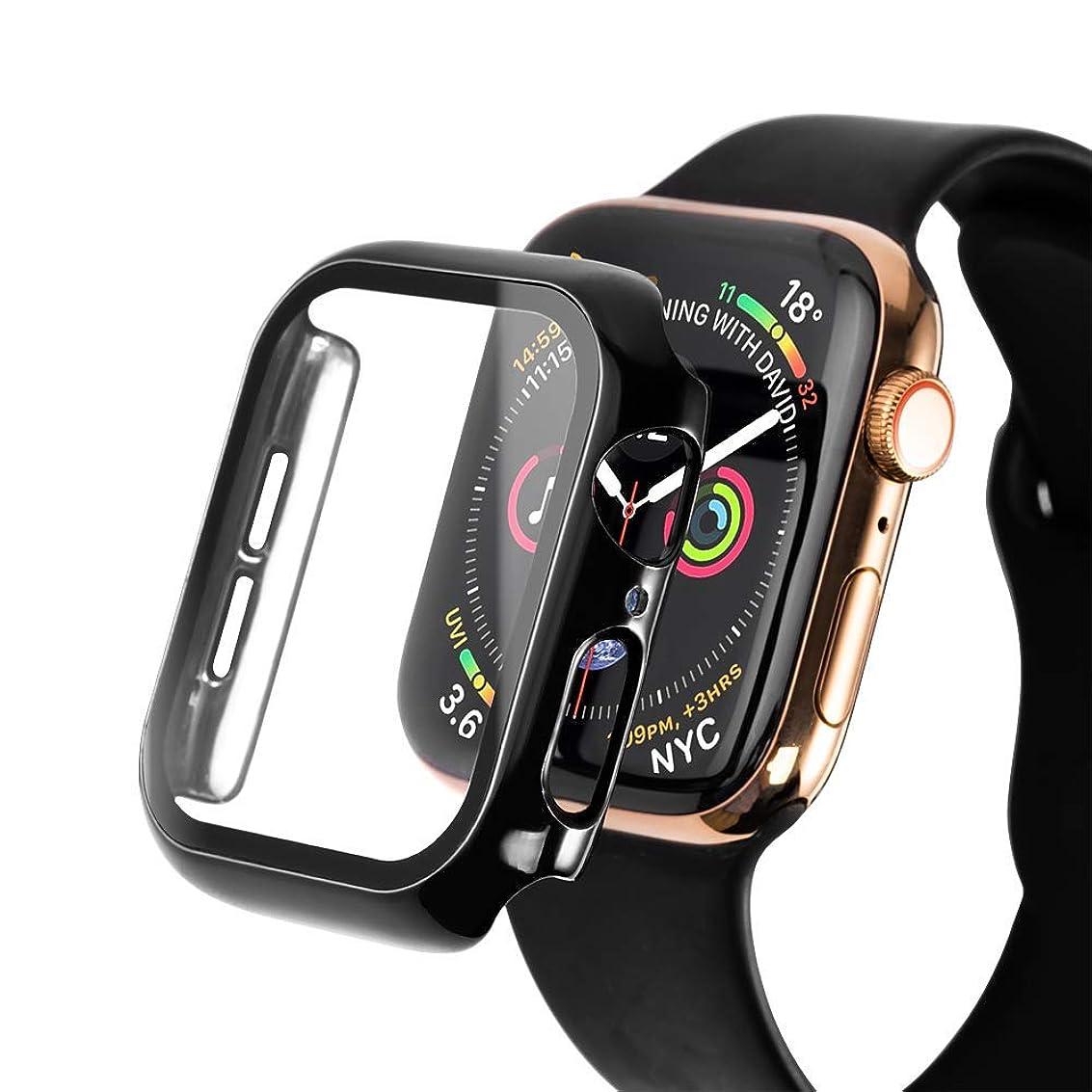 無限大深く通貨Apple Watch Series 5 44MM ケース【SLEO】液晶保護 軽量 耐久性 時計ウォッチケース 耐衝撃 PCスクリーン 全面保護 Apple Watch シリーズ 5 カバー(44mm ブラック)
