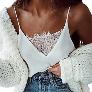 TOPME Women's Solid Lace Tank Top Blouse Camisole Sleeveless Vest Sexy Tunic Fashion 2019