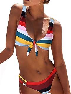 BMJL Women's Cute Swimwear Detachable Cutout Bathing Suit Striped Bikini Set Two Piece Swimsuit