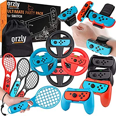 Orzly Party Pack Accessories Bundle Designed for Nintendo Switch and New 2021 OLED Console Games with Controller Grips & Wheels, Wrist Dance Bands, Tennis Rackets - Gift Pack Addition with Carry Sack by Orzly