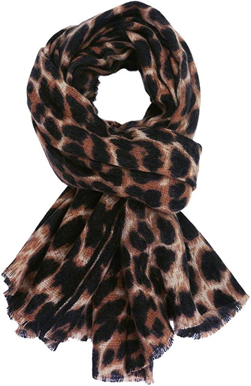 GERINLY Women's Scarves  CashmereLike Leopard Cozy Warm Wrap Scarf (Dark Brown)