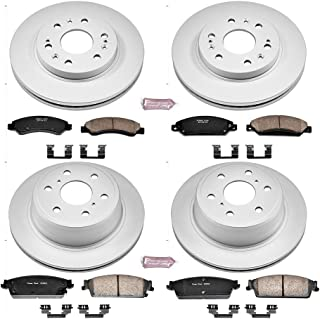Power Stop CRK2068 Coated Brake Rotor & Ceramic Brake Pads- front & rear