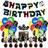 Star Wars 46pcs Birthday Party Decorations Movie Supplies Including 20 Pack Balloons, 1 Pack Banner, 25 Pack Cake Toppers Storm Trooper Art Work
