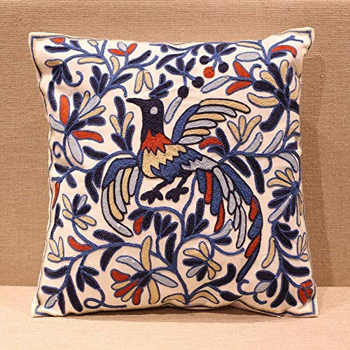 hi-home Cushion Covers, Embroidered Decorative Boho Throw Pillow Case Square Cotton Indian Pillow Covers for Sofa Bedroom Living Room 50x50cm, Modern Floral Pattern Pillowcases
