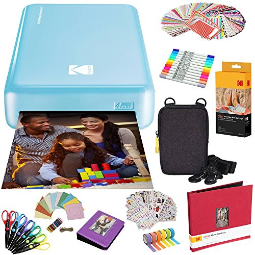 Kodak Mini2 Instant Photo Printer (Blue) All-in-Bundle + Paper (20 Sheets) + Deluxe Case + Photo Album + 7 Unique Sticker Sets + Markers + Scissors + Border Stickers and So Much More
