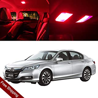 SCITOO LED Interior Lights 8pcs Red Package Kit Accessories Replacement for 2003-2012 Honda Accord Sedan Coupe