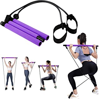 Portable Pilates Bar Kit with Resistance Band, Yoga Pilates Bar Stick Home Gym Exercise Stick with Foot Loop for Hipsline,...