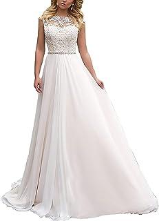 a427fc8f8699d7 YASIOU Elegant Hochzeitskleid Damen Lang Hochzeitskleider Spitze Chiffon  Brautmode Rückenfrei Weiß Vintage Spitze A Linie Brautkleid