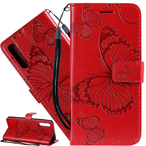 ISADENSER Galaxy A10E Wallet Case Galaxy A10E Butterfly Case [Business Embossing] [Kickstand Flip] [Card Slot] [Magnetic Clasp] Flip Case for Samsung Galaxy A10E Red Butterfly KT