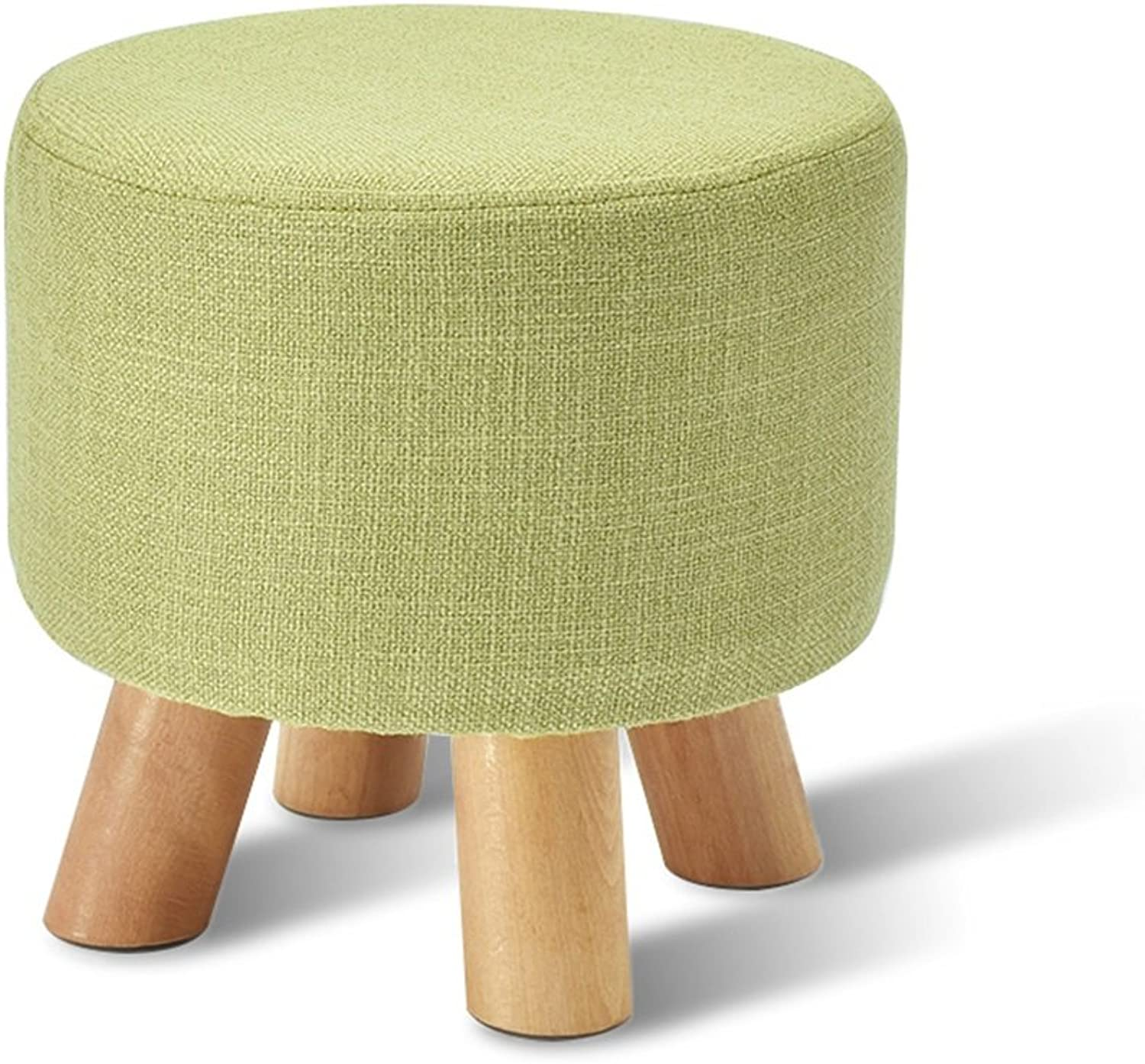 Solid Wood Stool Living Room Sofa Stool Household Stool Bed Stool Stools Multifunctional Footstool Coffee Table Stool Creative shoes bench Bench 29  27cm (color   Green)