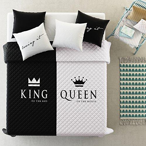 room99 Tagesdecke Steppdecke Größe: 220 cm x 240 cm Bettüberwurf Muster King & Queen