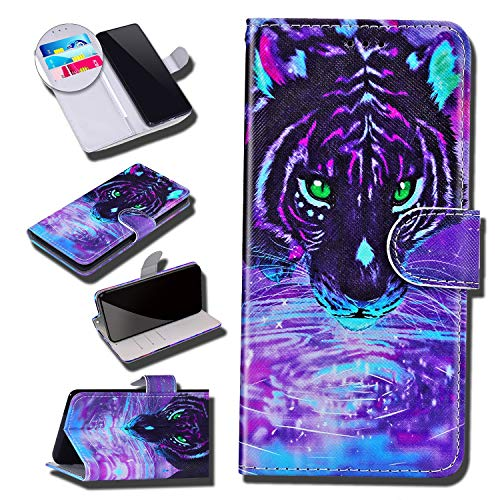 Urhause Coque Compatible avec Huawei P Smart Portefeuille Cuir Étui Pochette Motif Peint Dessin PU Leather Flip Protection Housse Clapet Case Emplacements Cartes Fonction Support Antichoc Cover,Tigre