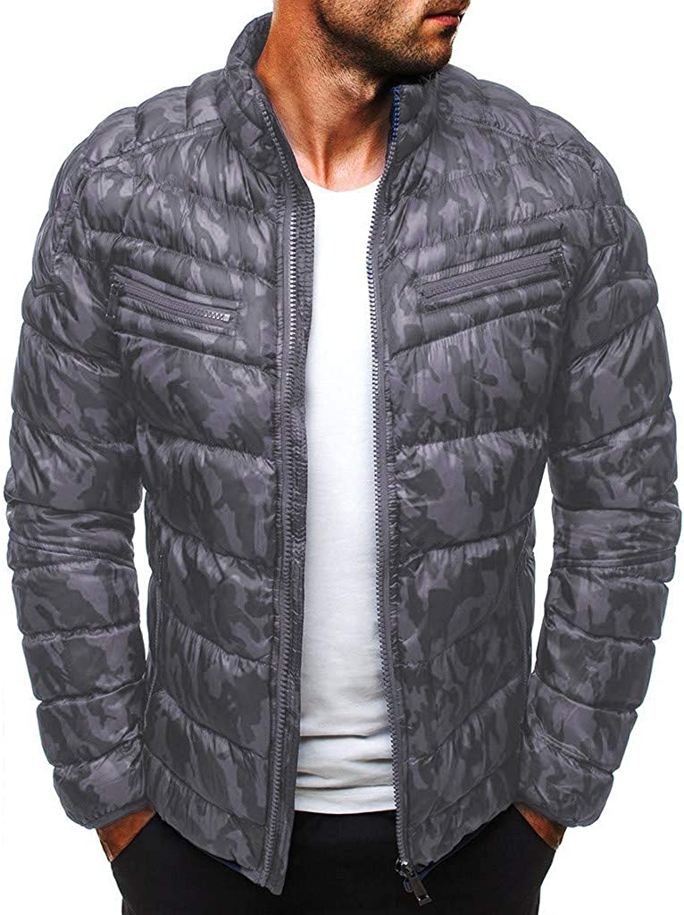 iOPQO Inventory cleanup selling sale Ranking TOP17 Men's Lightweight Camo Quilted Thermal Puffer Thin Down Ja