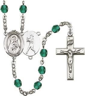 December Birth Month Prayer Bead Rosary with Patron Saint Centerpiece, 19 Inch