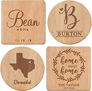 4 Style to Choose From - Personalized Coasters, Wood Coaster Set, Housewarming Gift, Monogram coasters, Custom Coasters - Home Sweet Home Coasters with Name & Date/ANY STATE With Heart Over City