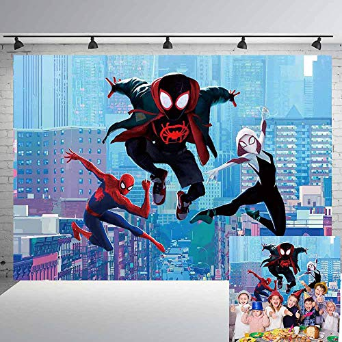 Miles Morales Spiderman Backdrop Boys Birthday Party Supplies Birthday Decoration Banner Party Supplies Photography Background Photo Studio Props 7x5Ft