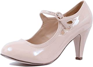 4d81eb3548bf Womens Vintage Mary Jane Pumps Low Kitten Heels Retro Round Toe Shoe with  Ankle Strap
