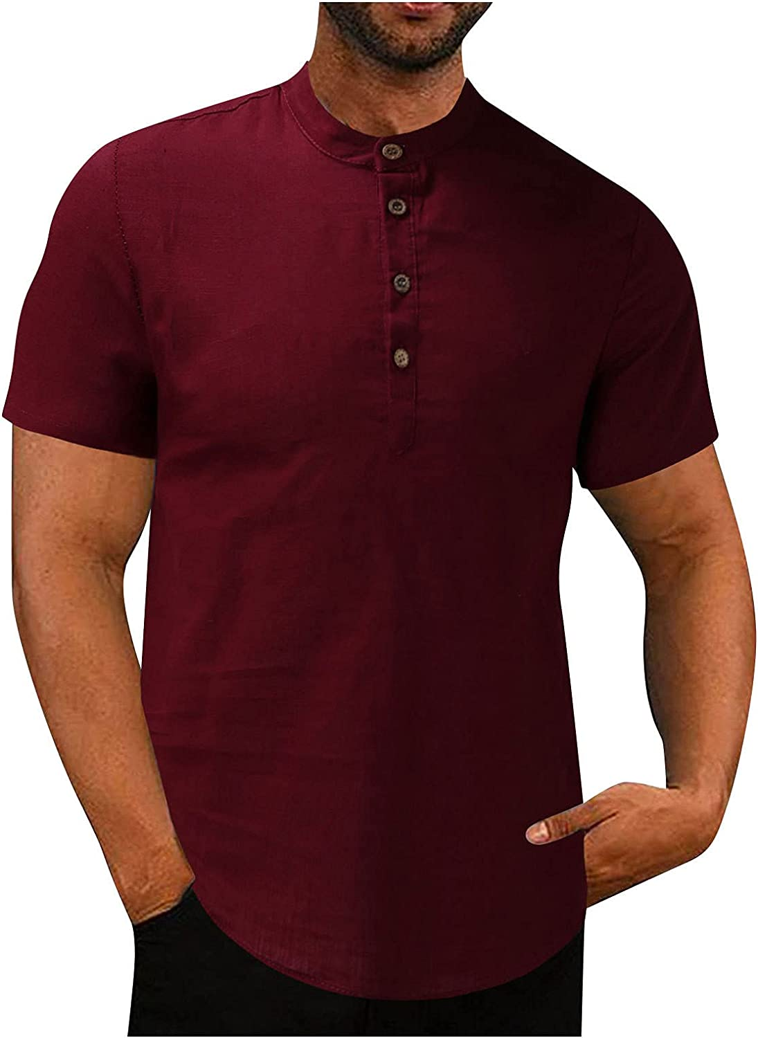 Men's Classic Henley Button Tee Shirt Casual Comfort Soft Slim Tops Solid Retro Short Sleeve T-Shirts Blouse