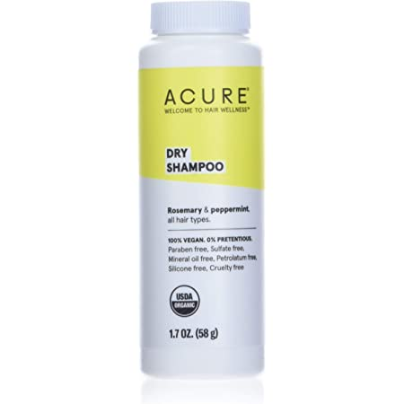 ACURE Dry Shampoo - All Hair Types   100% Vegan   Certified Organic   Rosemary & Peppermint - Absorbs Oil & Removes Impurities Without Water   1.7 Fl Oz