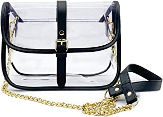 OZMI Clear Cross Bag, Saddle Cross Body Bag Women Chain Shoulder Handbag Purse with Faux Leather Trim, Stadium Approved PVC Transparent Messenger Shoulder Bag