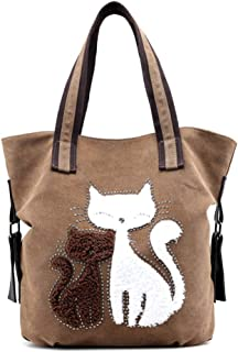 Canvas Kitty Cat Pattern Shoulder Crossbody Bag Female Bag Cute Shoulder Tote Brown