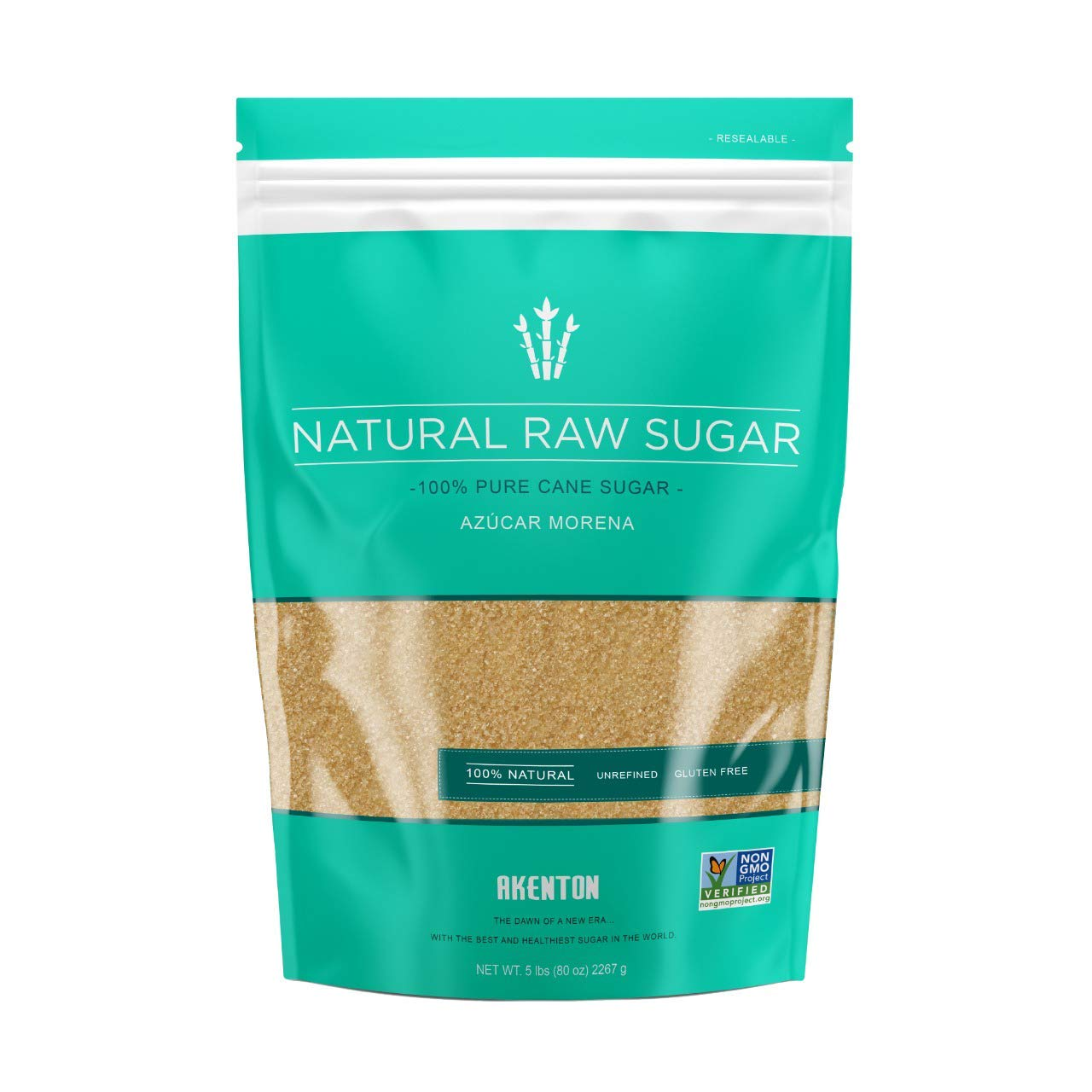 Tampa Mall Limited time cheap sale Akenton Natural Raw Cane Sugar 5 Resealable 100% Pound Na Bag