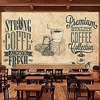 """カスタム壁画壁紙ヨーロピアンスタイルのレトロなノスタルジックなコーヒーショップレストランの背景の壁の装飾3D壁紙/ 400cm(W)x 250cm(H)(13'1""""x 8'2"""")ft"""