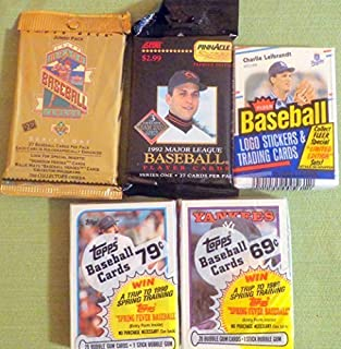100+ Vintage Baseball Cards Lot In Sealed Unopened Cello Jumbo Packs 1988 1989 Topps 1988 Fleer 1992 Pinnacle and 1993 Upper Deck