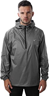 Mens Rain Jacket Waterproof Hooded Coat Pullover Windbreaker Packable Raincoats