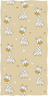 ZzWwR Cute Cartoon Giraffe Hearts Pattern Soft Highly Absorbent Guest Large Home Decorative Hand Towels Multipurpose for Bathroom, Hotel, Gym and Spa (16 x 30 Inches)