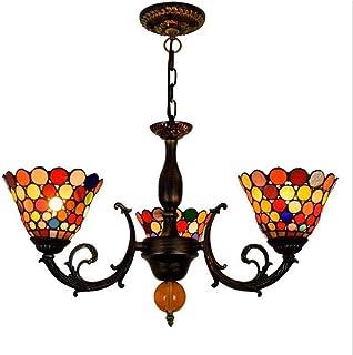 OUJIE Tiffany Colorear Lámpara Araña, Redondo Manual Rompecabezas Aleación Hierro Arte 3 Brazos Vidrio Araña Luces, Sala Estar Dormitorio Comedor Lampara Ahorro De Energia