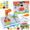 147 Pieces Creative Mosaic Puzzle Toy With Electric Drill Screw Tool Set, DIY Construction Engineering Building Blocks STEM Learning Toy, Games Activity Center for Boys & Girls Ages 3-10 Years Old