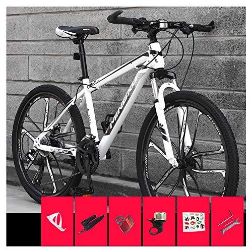 COSCANA Bicicleta De Montaña para Adultos con Rueda De 26 Pulgadas Bicicleta con Marco De Acero De Alto Carbono con Frenos De Disco Doble Suspensión Delantera para Hombres Y MujeresWhith-24 Speed